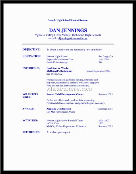 basic resume sles for highschool students exles of resumes hairdressing resume sales