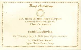 ring ceremony card