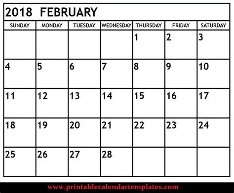 Calendar For February February 2018 Printable Calendar Templete Printable