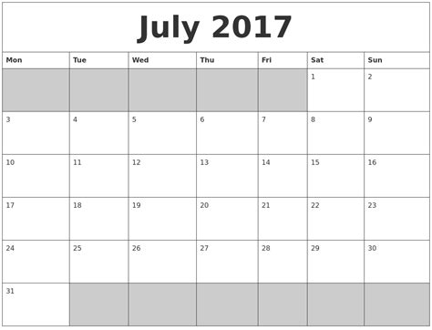 printable monthly calendar 2017 monday start july 2017 blank printable calendar