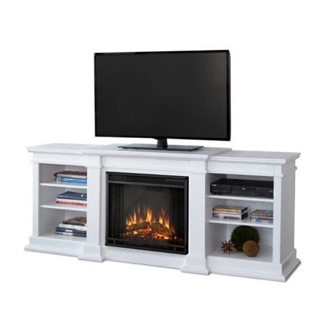 Real Flame Fresno Electric Fireplace Tv Stand In White White Fireplace Tv Stand