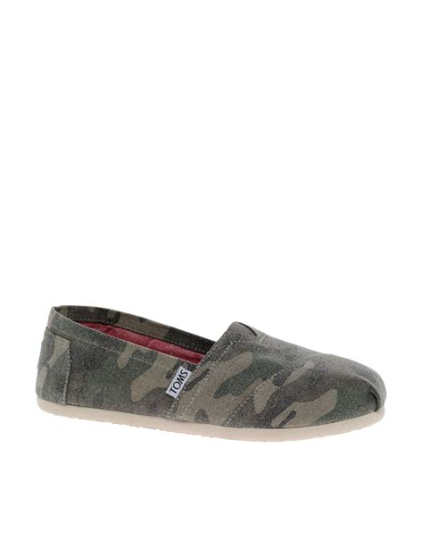 camo flats shoes toms washed camo flat shoes in green lyst