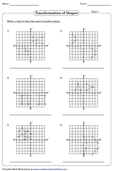 Transformations Worksheet Answers