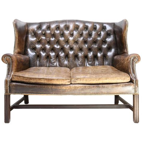 Tufted Leather Chesterfield Sofa Chesterfield Wingback Tufted Leather Sofa At 1stdibs
