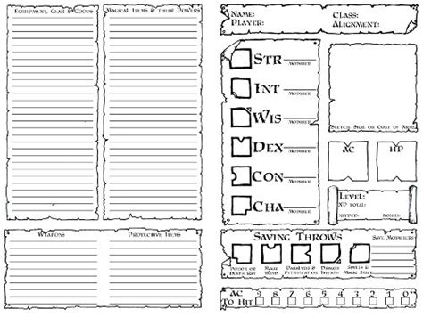 dnd 5th edition template 3x5 card character sheets dyson s dodecahedron