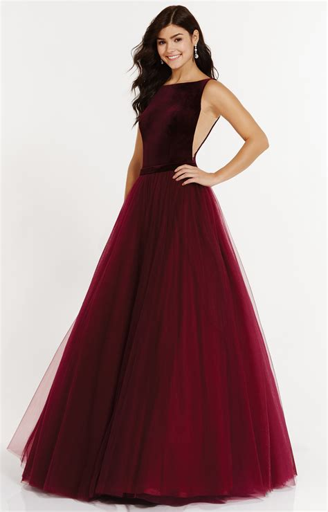 alyce paris  high neck tulle ballgown  velvet
