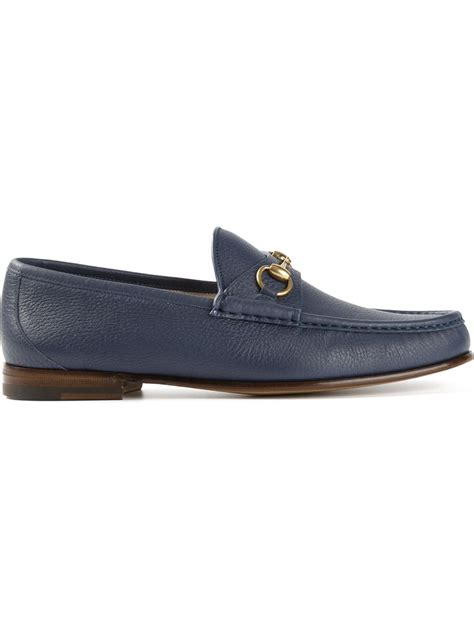 lyst gucci bit loafers in blue for