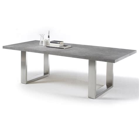 savona extra large dining table  grey  stainless steel