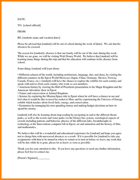 College Absent Letter 6 Excuse Letter For Absence In College Fancy Resume