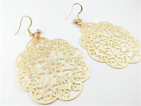 filigree for jewelry gold filigree earrings boho chic large statement jewelry