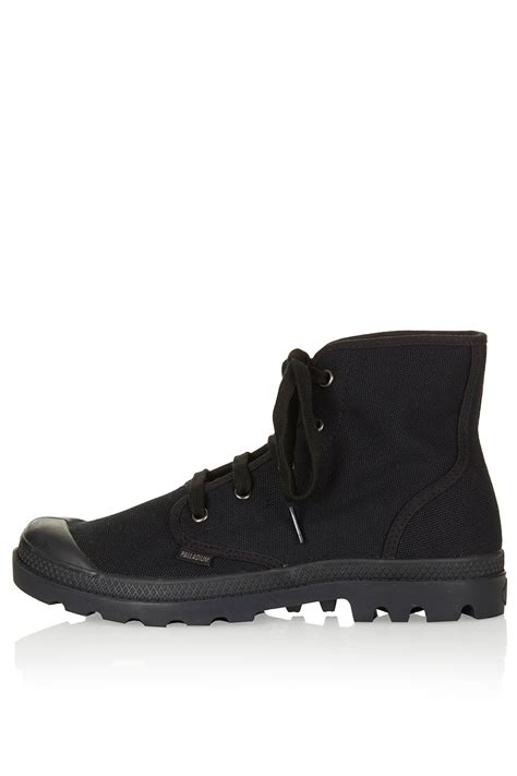 topshop lace up canvas boots in black lyst