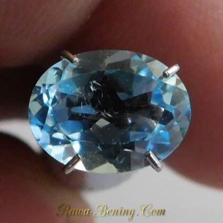 Cincin Wanita Blue Topas Bertahta Berlian jual permata sky blue topaz bersinar ramai oval cut 2 10 carat