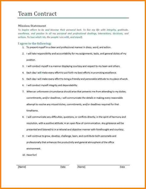 7 Team Contract Template Free Invoice Letter Team Contract Template