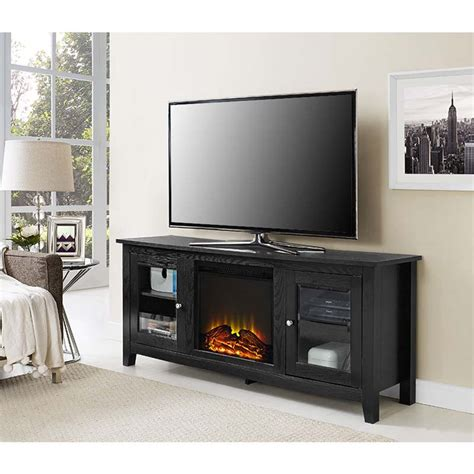 60 Inch Tv Fireplace by Walker Edison 60 Inch Tv Stand With Electric Fireplace Black W58fp4dwbl