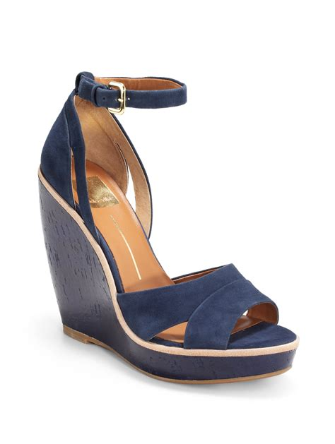 Sendal Wedges Sendal Wanita Ss09 lyst dolce vita paiva ankle wedge sandals in blue