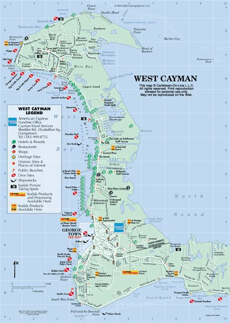 printable map grand cayman island georgetown grand cayman map