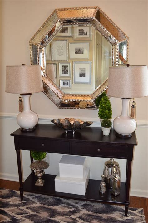 foyer mirrors foyer decor with entryway console table and large silver