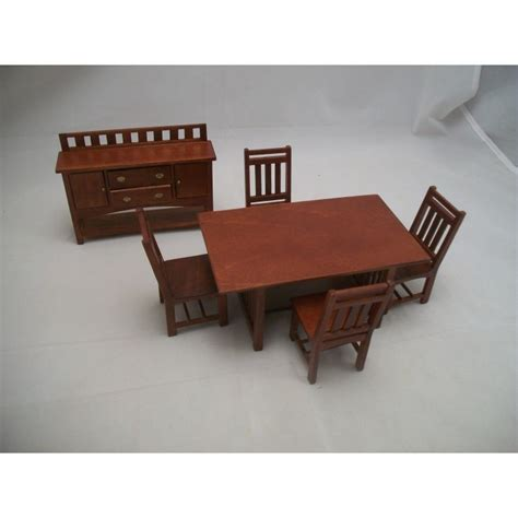 o scale dollhouse furniture dining room set craftsman style dollhouse wooden furniture