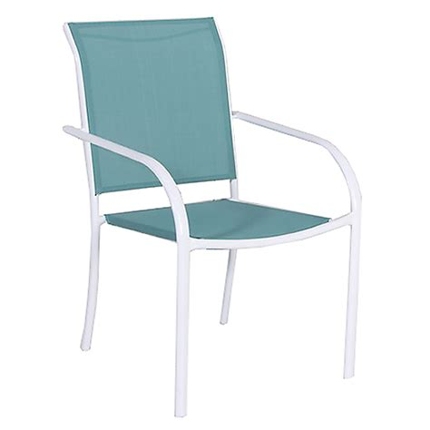 Sling Patio Chairs Stackable Shop Style Selections Driscol White Sling Seat Steel Stackable Patio Dining Chair At Lowes