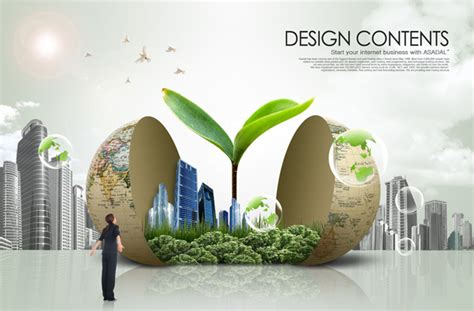 Green Earth Topic Psd Material Over Millions Vectors Green Building Ppt Templates Free