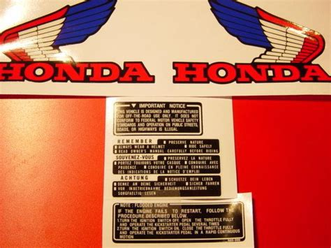 honda atc 70 decals sell 1985 atc 70 bad rear fender decal graphic sticker