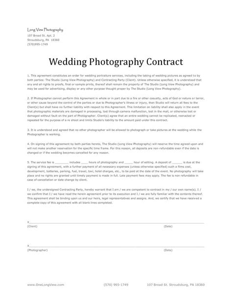 wedding photography contract 11 best images about wedding photography contract template