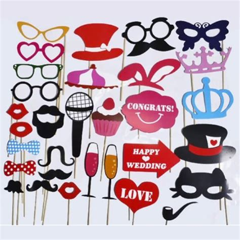 Perlengkapan Photobooth Fotobooth מוצר 31 pcs set wedding photo booth props decorations supplies mask mustache for