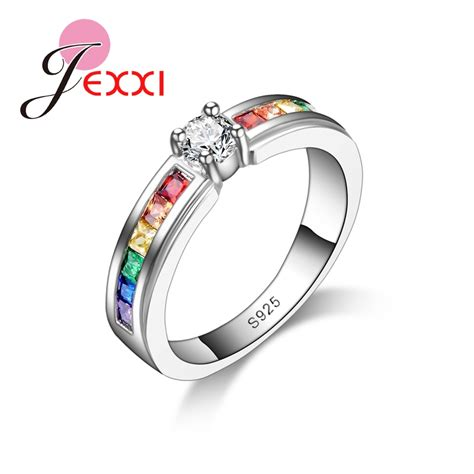 popular rainbow engagement ring buy cheap rainbow