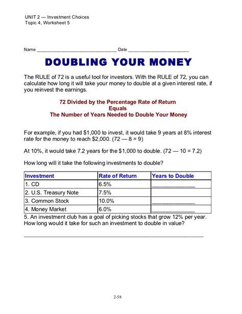 The Rule Of 72 Worksheet Answers by Rule Of 72 Worksheet Math Rule Best Free Printable