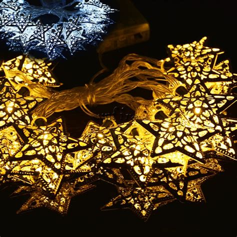 20 Silver Metal Star Pendant Led String Lights Christmas Decorative Indoor String Lights