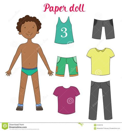 design clothes and sell them games paper doll boy and clothes vector illustration stock