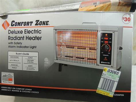 comfort zone electric radiant heater comfort zone deluxe electric radiant heater