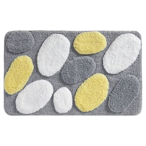 yellow and grey bath rug pebblz microfiber rectangular rug 34 quot x21 quot gray yellow interdesign 174 target