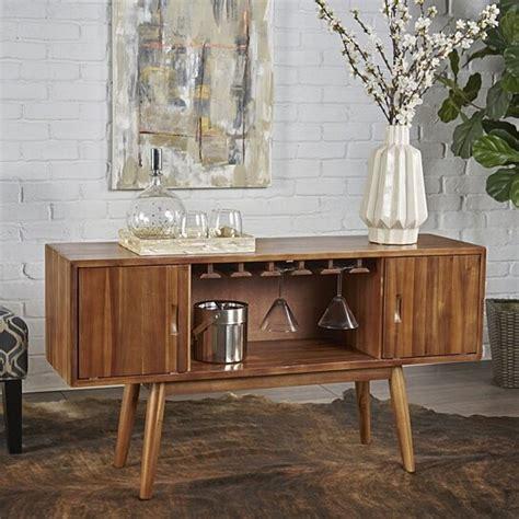 buy edye mid century light oak finished wood wine bar