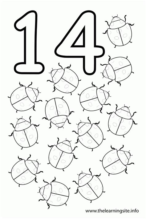 Coloring Pages Of The Number 14 | number 14 coloring page coloring home