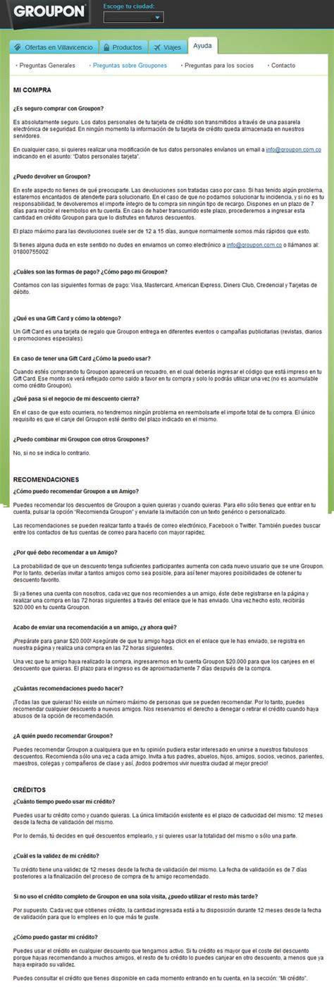 preguntas frecuentes groupon ayuda groupon colombia precios fichas t 233 cnicas y