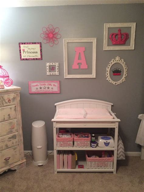 Baby Girls Nursery Pink And Gray Diy Wall Decor My Wall Decor For Nursery