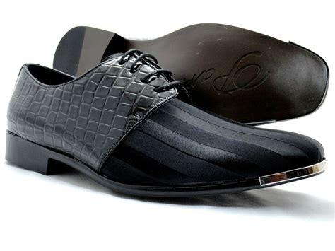mens dress shoes parrazo black oxford lace up crocodile prints linen front shoes ebay