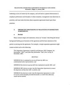 Legal Separation Agreement Template sample business separation agreement template 6 free