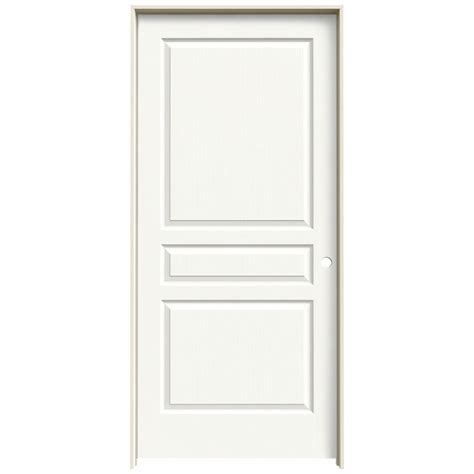 Jeld Wen Doors Interior Jeld Wen 36 In X 80 In Avalon White Painted Left Textured Hollow Molded Composite