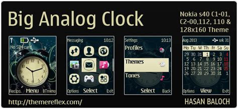 themes clock c1 big analog clock theme for nokia c1 01 c2 00 110 112