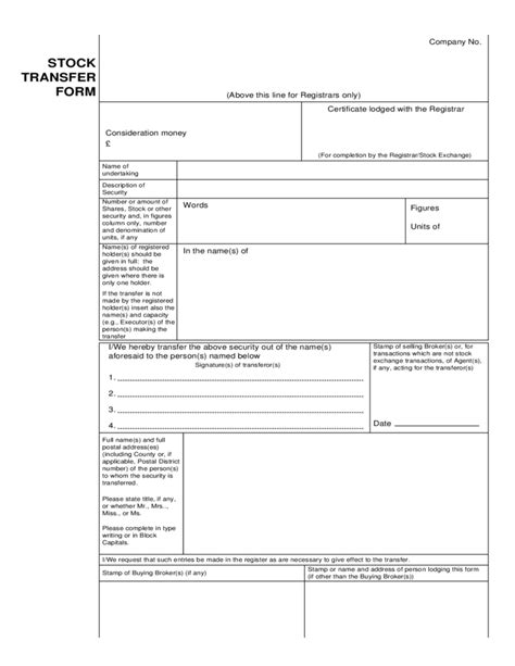 stock transfer form sle free download
