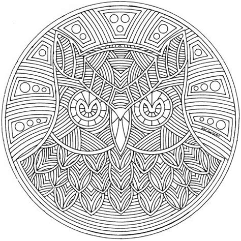 mandala coloring pages owl free mosaic owl coloring pages
