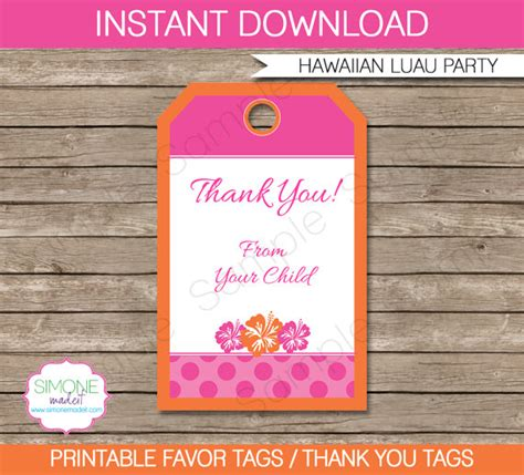 hawaiian luau favor tags thank you tags birthday party