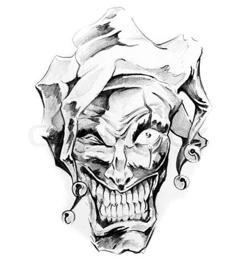 sketch of tattoo art clown joker stock photo colourbox