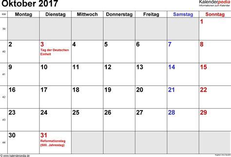 Calendar October 2017 Kalender Oktober 2017 Als Excel Vorlagen