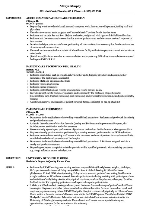 Patient Care Tech Resume by Patient Care Tech Resume Patient Care Technician Resume
