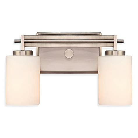 Glass Shades For Bathroom Light Fixtures Buy 2 Light Bathroom Fixture In Antique Nickel With Opal Etched Glass Shades From Bed