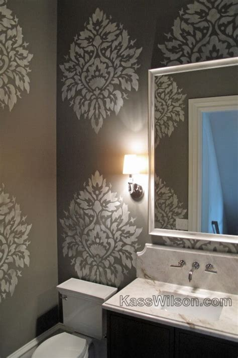 wall stencils for painting bathroom on a grand scale custom stenciled powder room