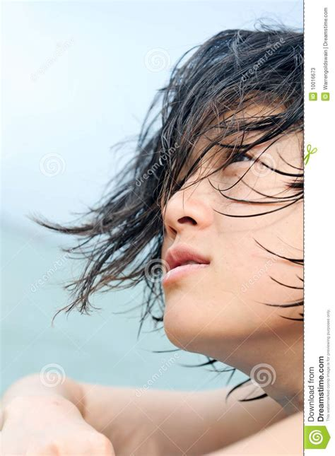 wet and messy hair look asian girl with wet hair stock photos image 10016673